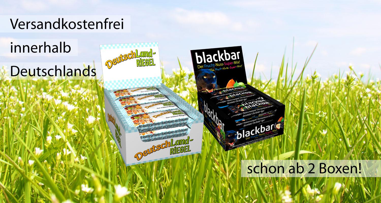 versandkostenfrei, innerhalb Deutschlands, schon ab 2 Boxen, DeutschLand-Riegel, blackbar, im Paket kaufen und sparen